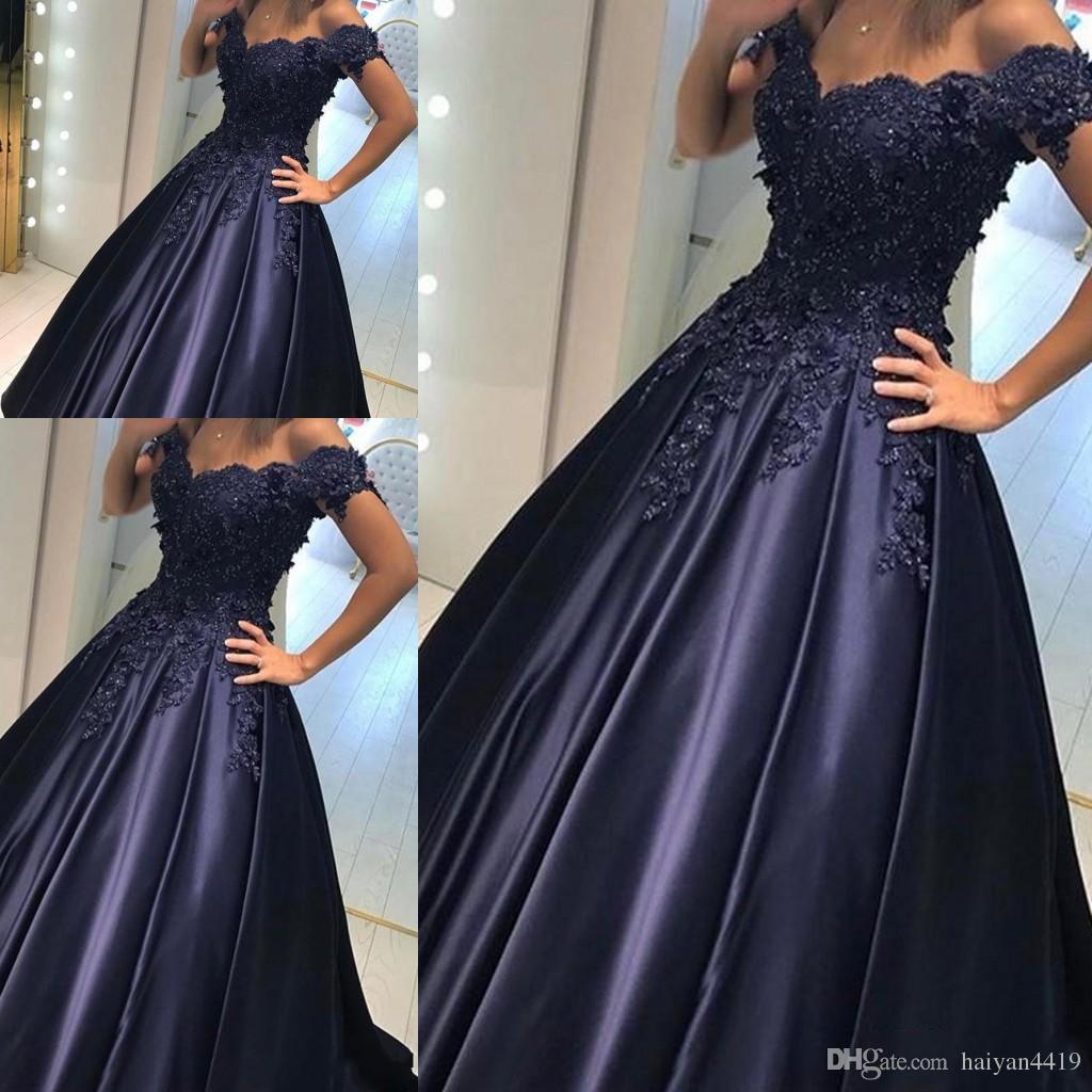 Elegante 2017 New Sexy Blu Navy Prom Dresses Sweetheart Cap maniche in pizzo Appliques in rilievo Zipper posteriore Party Dress abiti da sera formale