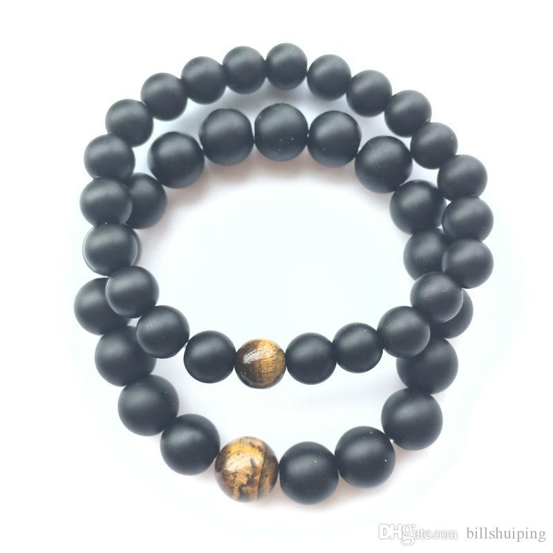 Оптовая мода дизайн 8 мм 10 мм 12 мм Мужские браслеты черный исцеление баланс бусины браслет для мужчин Женщины рейки молитва йога камни