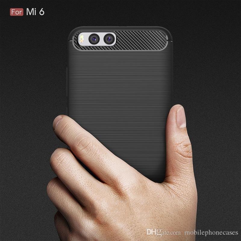 10 قطع حقيبة الهاتف حالات لل xiaomi Mi6 ألياف الكربون الثقيلة للصدمات درع القضية ل xiaomi Mi6 2017 حار بيع الشحن مجانا