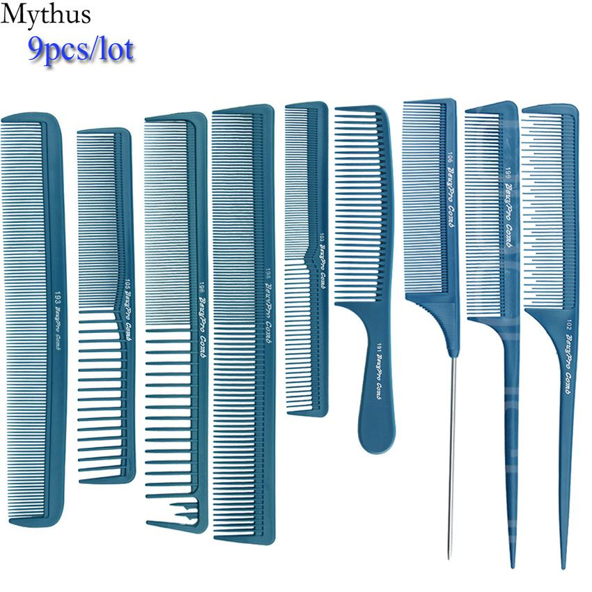 Carbon Hair Comb 9/pcs Lot Blue Hair Cutting Combs Set, Hair Tail Comb in Different Design For Professional Usage, T&G-9