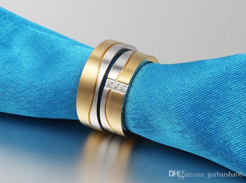 MEAGUET Modeschmuck Eheringe Ringe für Männer / Frauen Goldfarbe Edelstahl Verlobungsring CR-053