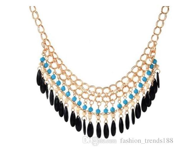 8149abbd89c Fashion Bohemian Jewelry New Women's Chunky Statement Bib Necklace Chocker  Necklace Acrylic Water Drop Tassel Pendant Charm