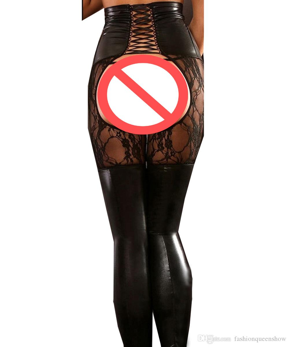Sexy Crotchless Lingerie Lace Up Nero Faux Leather Patchwork Leggings di pizzo Erotic Punk Clubwear Costume Gothic Bodycon Pants