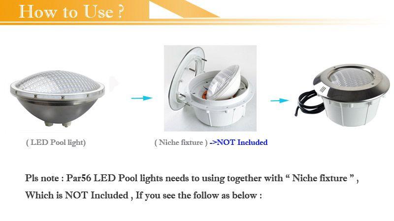 Par56 RGB Sualtı Yüzme Havuzu Işıkları Paslanmaz Çelik Malzeme 24 W 34 W Havuzlar Havuz Çeşmesi Uzaktan Kumanda ile Renk Değiştirme ...