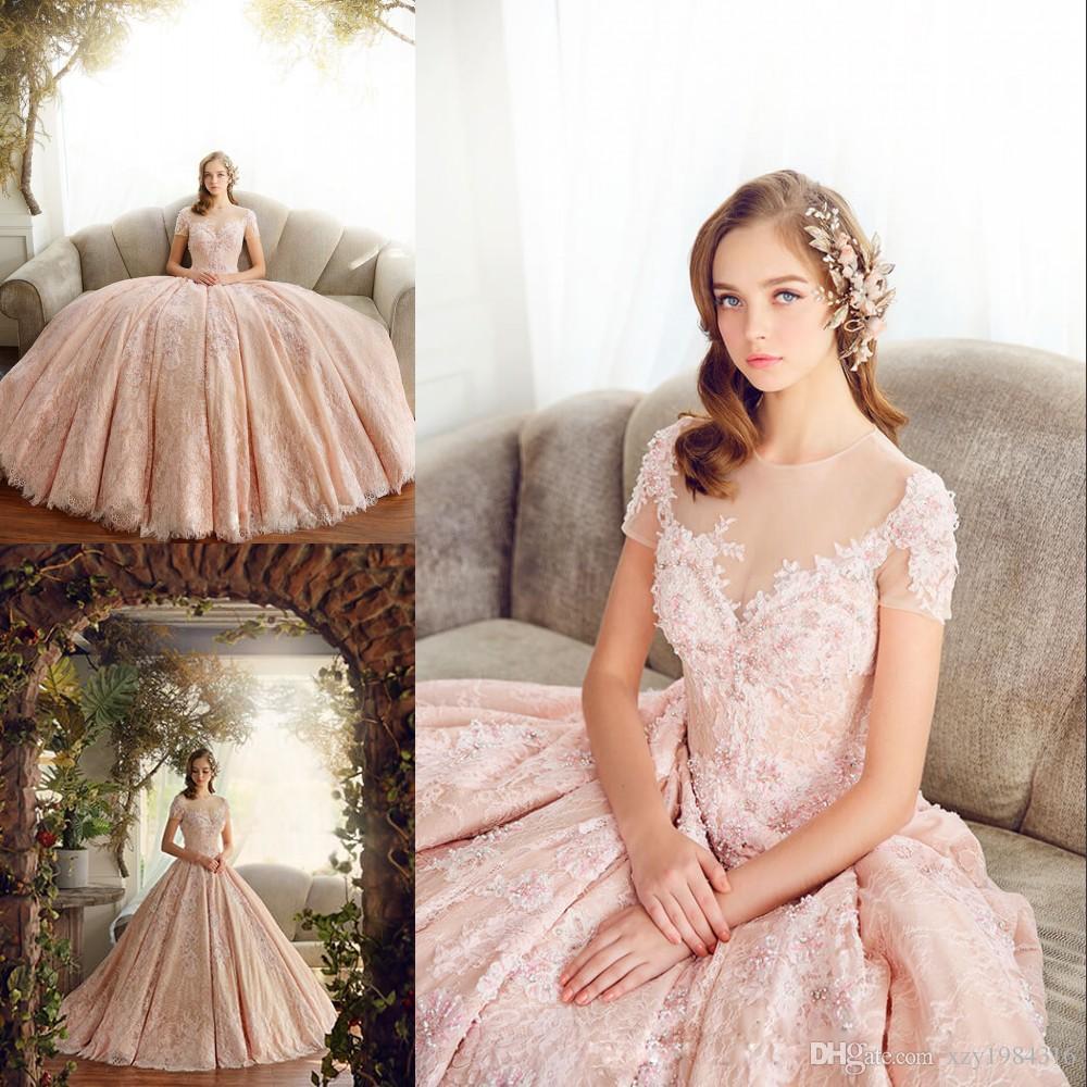 11aeedb51 Vestido De Festa De Casamento Encantador Rosa Longo Rendas Vestidos De  Noite Sheer Jewel Neck Mangas Curtas Frisada Applique Vestidos De Baile  Vestidos De ...