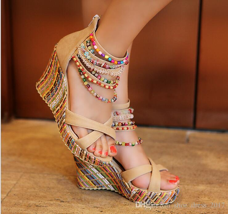 Hot Sale New Fashion Summer Bohemian Elegant Platform Shoes Woman Beading Wedges Sandals Casual Women Shoes
