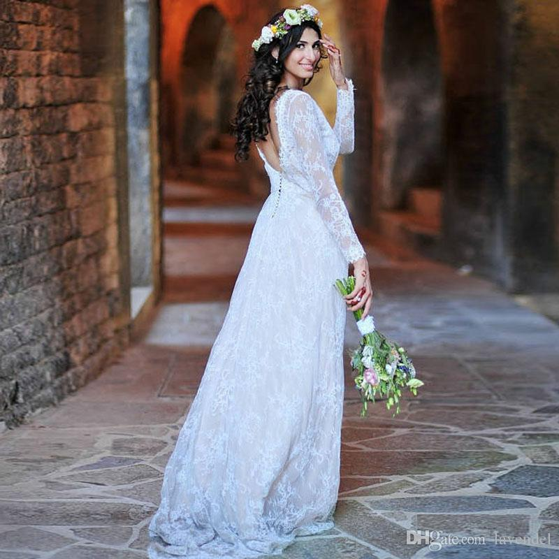 2018 Ivory Chantilly Lace Wedding Dress With Long Sleeves Open Back ...