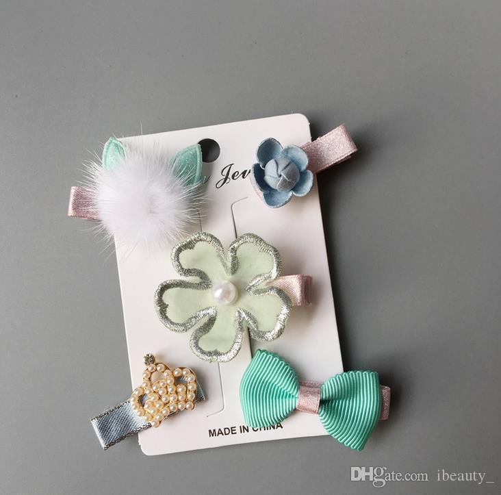 New kids girl handmade hair Accessories flower Bowknot Hairpin children star Cartoon crown hair clips Barrette headwear