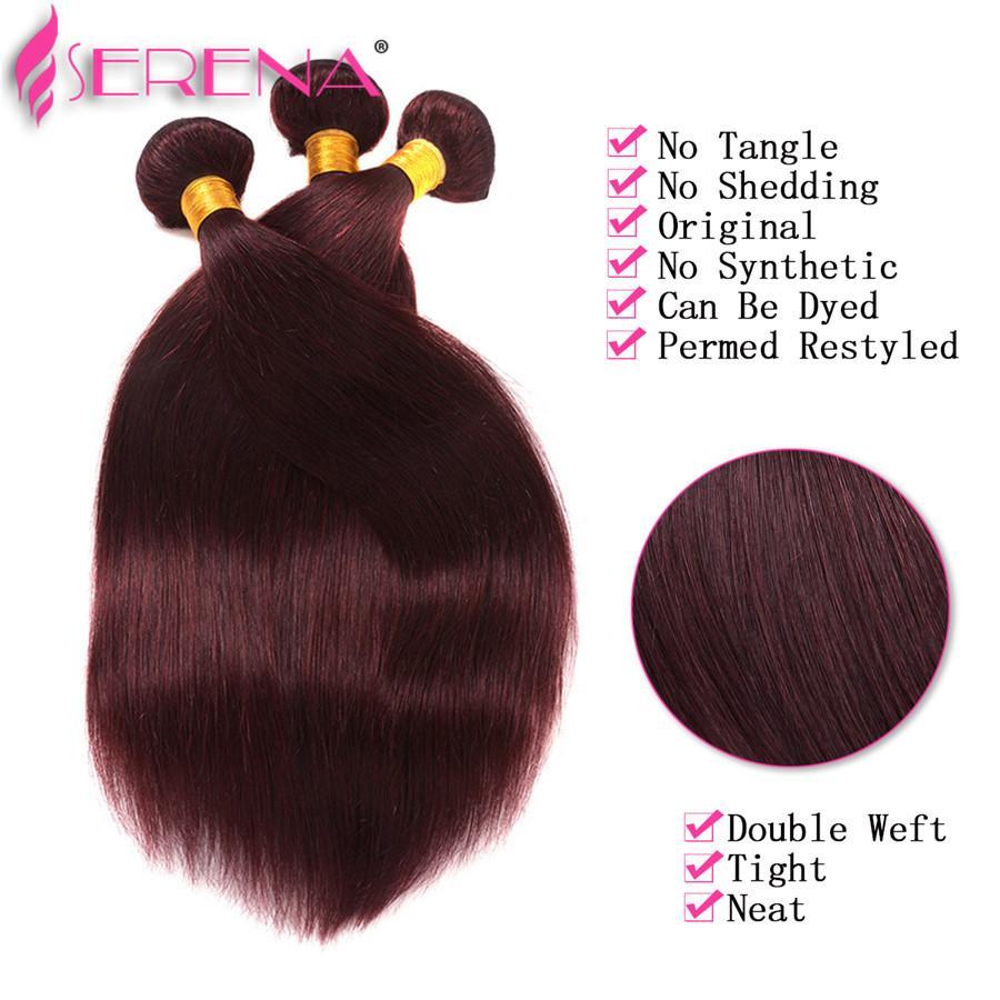 8A Grade Brazilian Burgundy Hair #99J Brazilian Virgin Hair Straight Weave Bundles Brazilian Burgundy Wine Red Human Hair Extensions