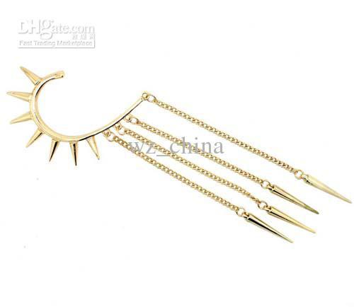 Brand NEW buy 1 get 2 WOMENS SPIKE EAR CUFF CHAIN STUD STUDDED RIVET PUNK EARRING EARCUFF