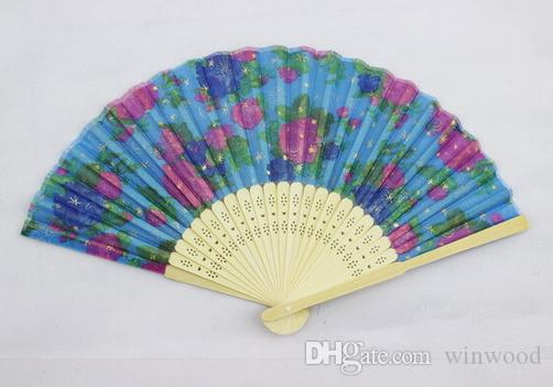 Folding Fans Fashion Flower Printing Hand Design Bamboo Folding Fans Festival Events Supplies Wedding Gifts Favors Arts Crafts