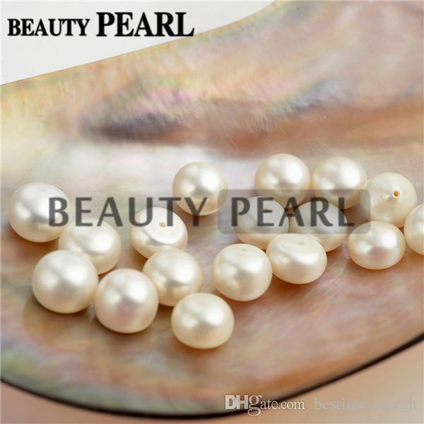 Wholesale Button White Freshwater Pearls Loose Beads Cultured Pearl Flat Back Half Drilled Cabochons 9-10mm