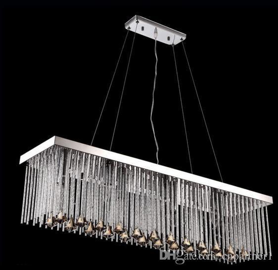 Lujo AC110-240V Modernas lámparas de cristal rectangular colgante Luz de comedor Longitud de 80 cm 100 cm Lámpara de techo LED con 6 lámparas de led