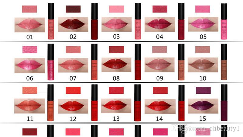QiBest Liquid Lipstick Lip Gloss es Lápiz labial impermeable de larga duración Nutritious 7ml Lips Makeup