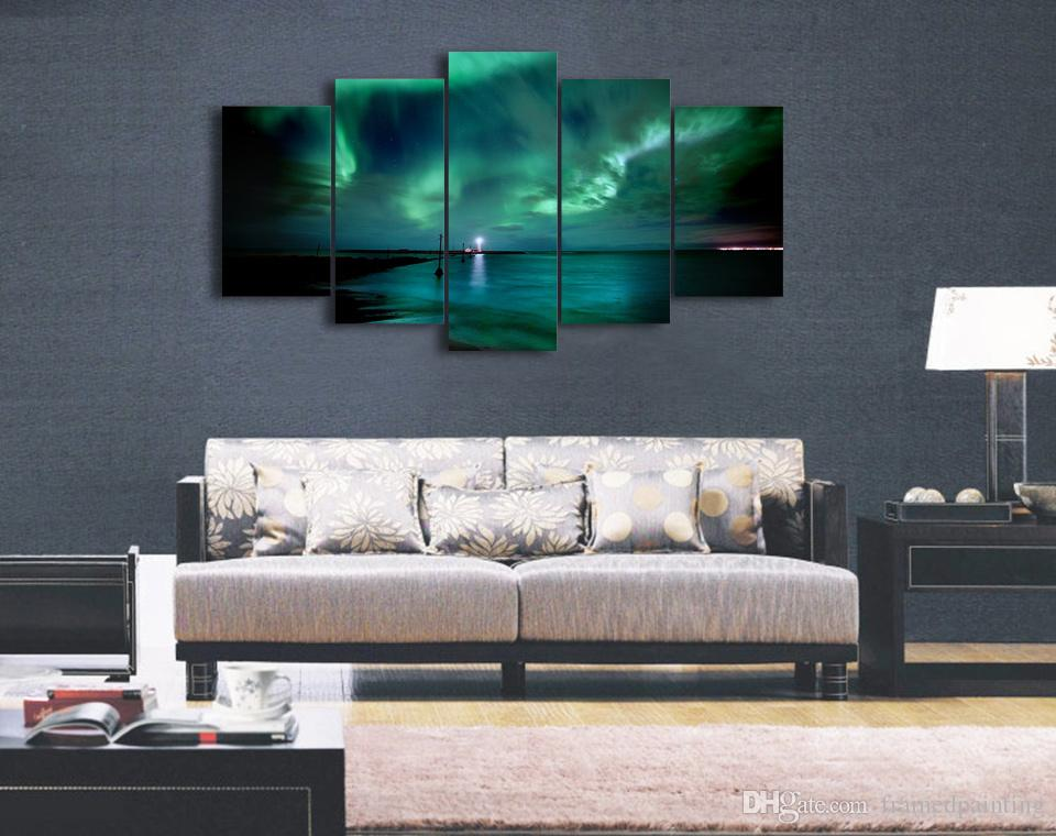 5 Pçs / set Emoldurado HD Impresso Lago Paisagem Arte Da Parede Para O Quarto Do Miúdo Impressão de Lona Lona Cartaz Pintura Pictures