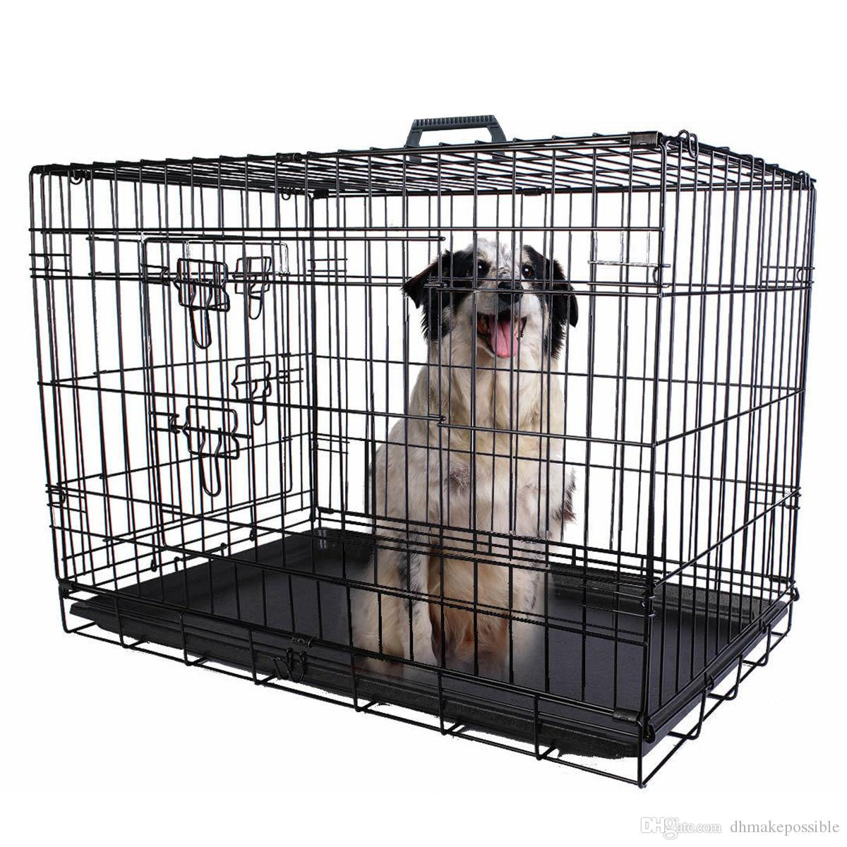 24'' 2 Doors Wire Folding Pet Crate Dog Cat Cage Suitcase Kennel Playpen With Tray