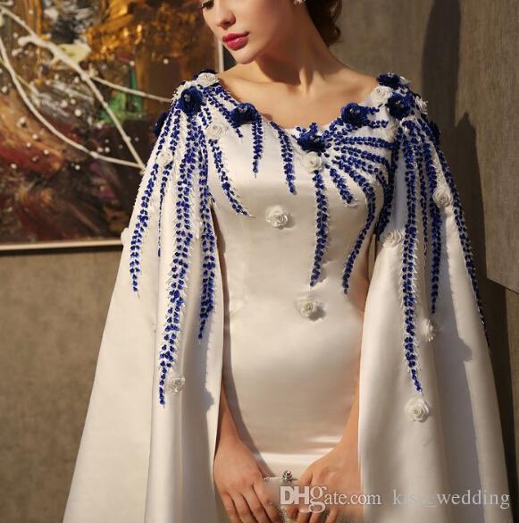Sirène Charme Robes De Soirée Avec Cape Scoop Cou Cocktail Robes À La Main Fleurs Trompette Plancher De Longueur Robe Pour Noël