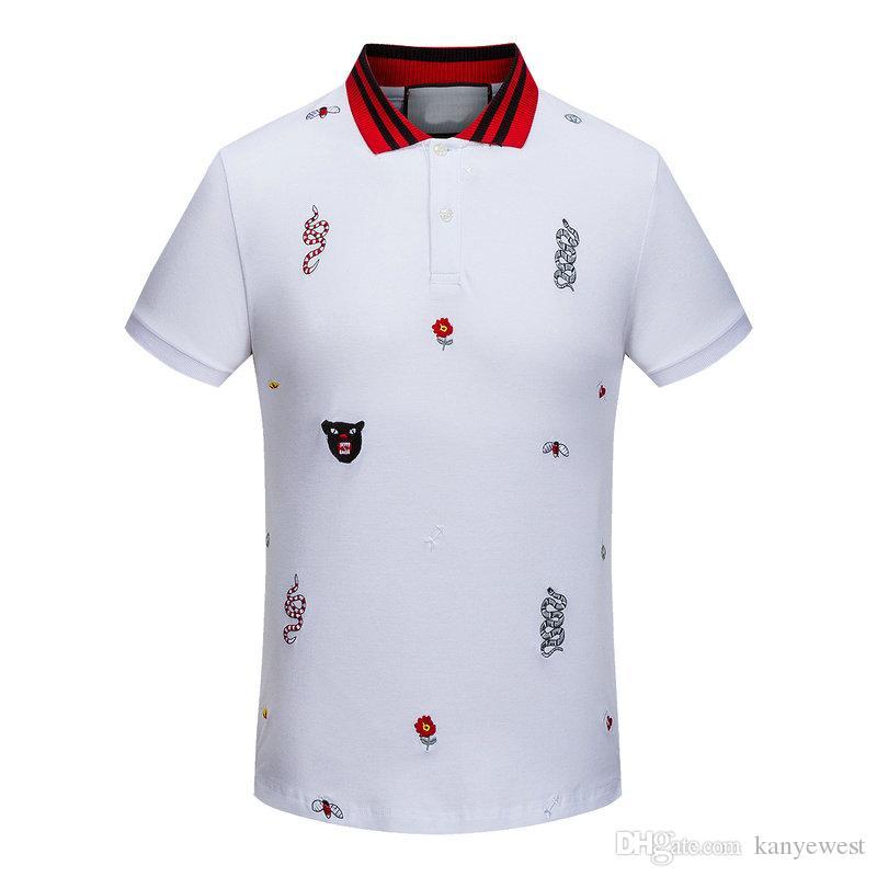 Neue 2017 Männer Hohe Gestickte schlange leopard biene blumen Polo Shirts Shirt Hip Hop Skateboard Baumwolle Polos Top Männer Kurzarm shirt Marke