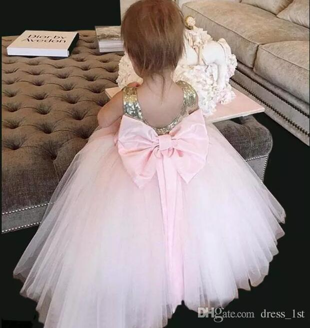 Lovely 2017 Champagne Gold Sequined Tull Ball Gown Flower Girls Dresses For Weddings With Big Bow Sash Custom Made China EN8015