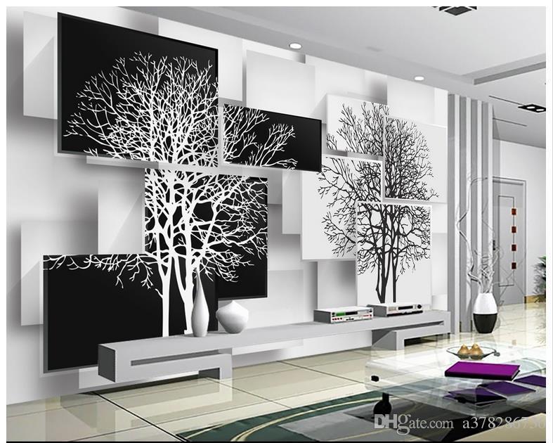 Trasporto libero di alta qualità personalizzata 3d carta da parati murales carta da parati semplice albero in bianco e nero 3 d impostazione TV parete arredamento soggiorno carta da parati