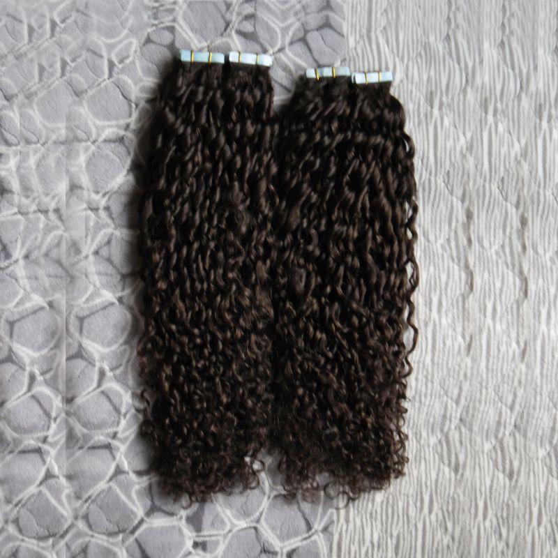 Mongolian kinky encaracolado fita em extensões de cabelo humano 200g afro crespo cabelo encaracolado da pele trama extensões de cabelo sem costura