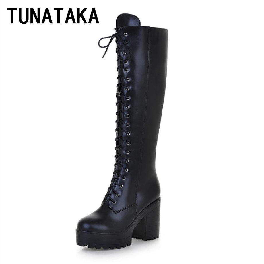 Wholesale Women S Lace Up Knee High Boots Thick Bottom High Heel Platform Combat  Boots Black Brown Blue Plus Size Heels Boot From Vickay 2fb3ff214e