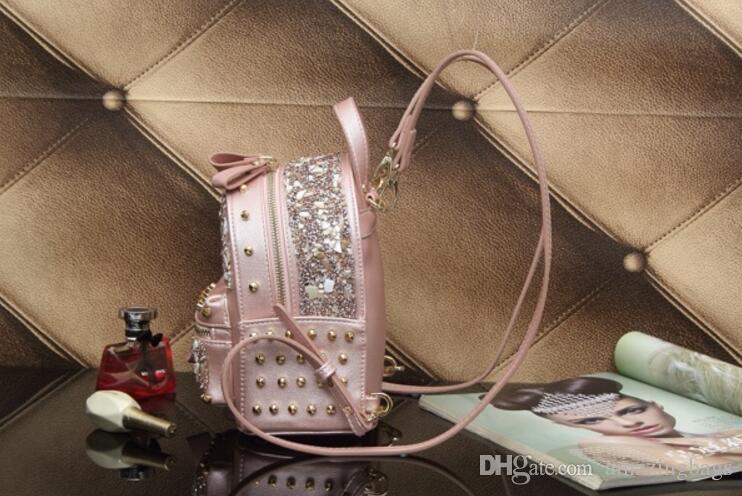 2017 mulheres moda strass sacos de senhoras mochila estilo spike stud bags impressão mochila de couro clássico flap rebites