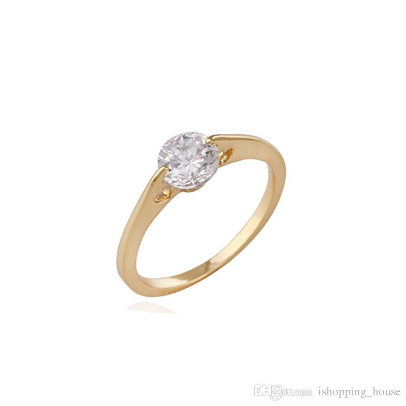 Simple Fashion Propose Ring for Women Real 18k Yellow Gold Plated