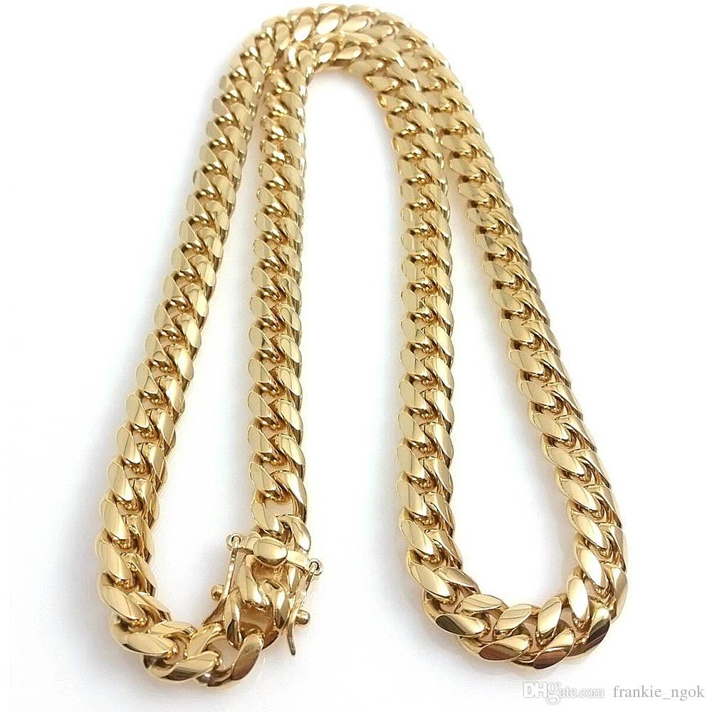 Из нержавеющих стали ювелирными изделиями 18K позолоченных отполированных Майами кубинского Link ожерелья Мужчину Панк 14мм Снаряженных цепи двойной безопасность Застежка 18inch-30inch