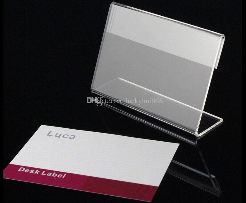acrilico T1.3mm chiaro tavolo di plastica segno prezzo etichetta etichette display carta promozione titolari L forma nome carta scrivania cornice stand