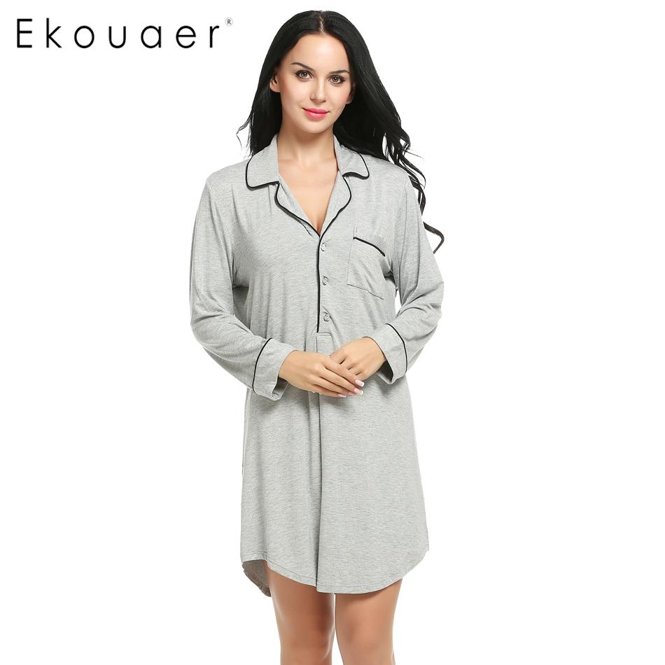 2019 Wholesale Ekouaer Women Sleepshirt Sexy Nightgowns Turn Down Collar Long  Sleeve Polka Dot Solid Lounge Long Sleep Shirt Sleepwear From Volontiers b8e06809c29a