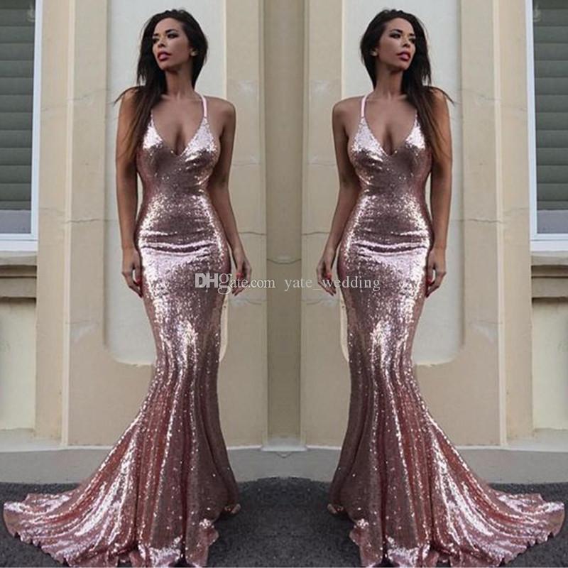 7908a721a031 Rosa lentejuelas de oro sirena vestidos de noche Sparkle V cuello correas  espaguetis sin respaldo de plata vestidos de baile vestidos de noche de oro  ...