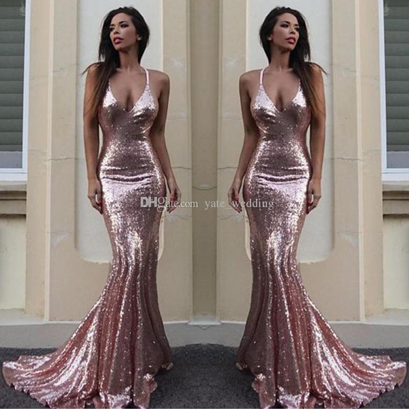 Rose Gold Sequin Mermaid Evening Dresses Sparkle V Neck Spaghetti Straps  Backless Silver Prom Dresses Gold Evening Gowns Criss Cross Back Black Formal  Dress ... bfbc42b94