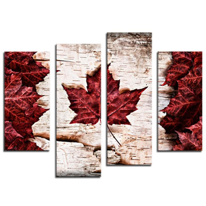 4 Pieces Canvas Paintings Art Red Maple Leaves Wall Decor Painting On Canvas Picture For Home Decor As Gifts Wooden Framed