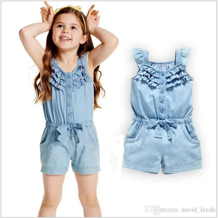 4d06c1bba46 2019 2017 New Summer Girls Sleeveless Denim Jumpsuits Baby Girl Cowboy  Shorts Kids Single Breasted One Piece With Bowknot Jumpsuit Retail From  David leeds