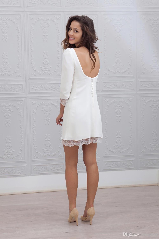 Designer Court Mini Gaine Ajusté Robes De Mariée 3/4 Manches Sexy Dos Nu Plage Informelle Casual Réception Robes De Mariée 2017