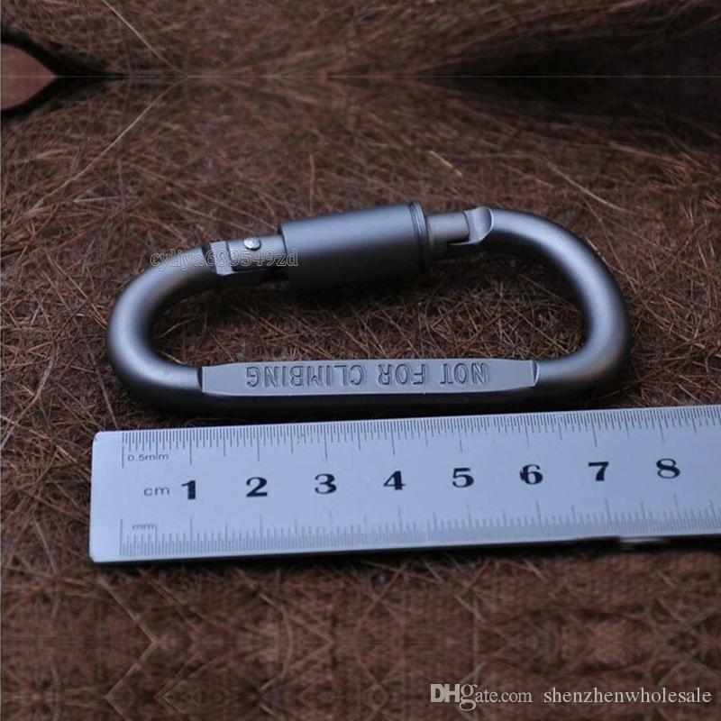 Outdoor Sicherheit Schnalle Aluminiumlegierung D Form Klettern Taste Karabiner Snap Clip Haken Keychain Schlüsselanhänger Karabiner Camping Wandern Heißer Verkauf