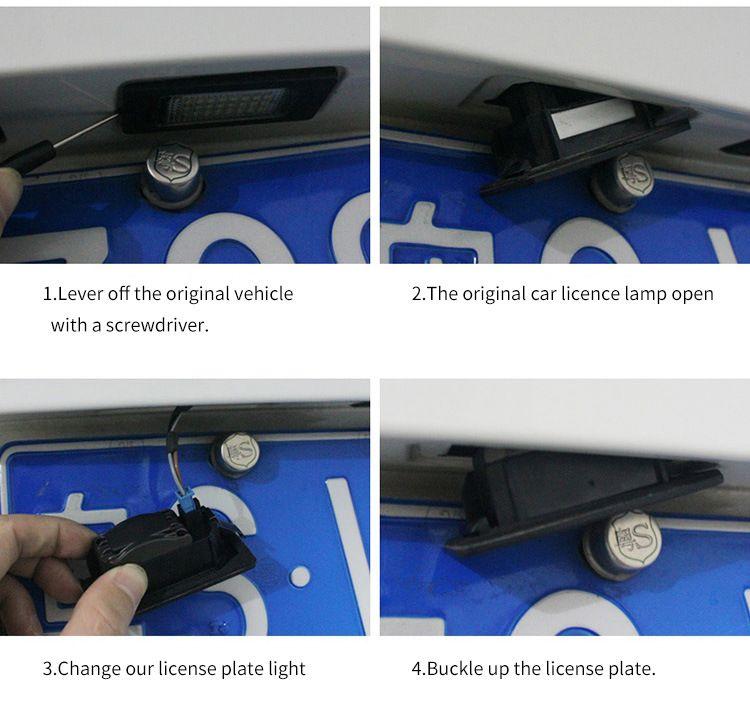 Oto 2 adet / grup Hatası Ücretsiz 18 LED Araba Lisans Numarası Plaka Işık Lambası 12 V Audi A3 S3 A4 S4 B6 A6 S6 A8 S8 Q7