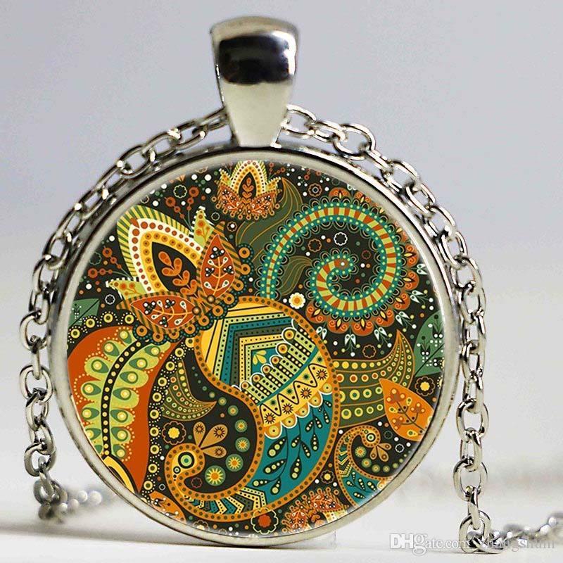 Vintage Colorido Flor Colar de Jóias Mandala Pentagrama Pingente Gargantilha Colar Om Bijoux Femme Collares Amigos Presentes