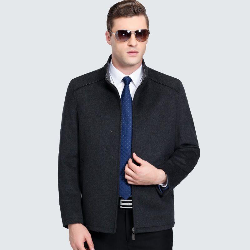 High Quality Wool Coat Men Autumn Winter Men's Woolen Coat Zip Wool & Blends Stand Collar Warm Coats For Male Overcoat 3XL