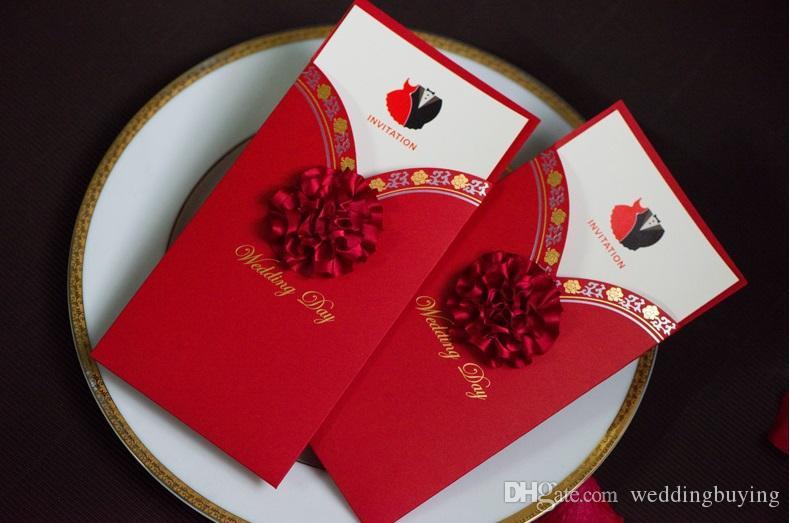 Red color European modern designs Wedding supplier wedding invitation wed card creative wedding invites DHL in good price
