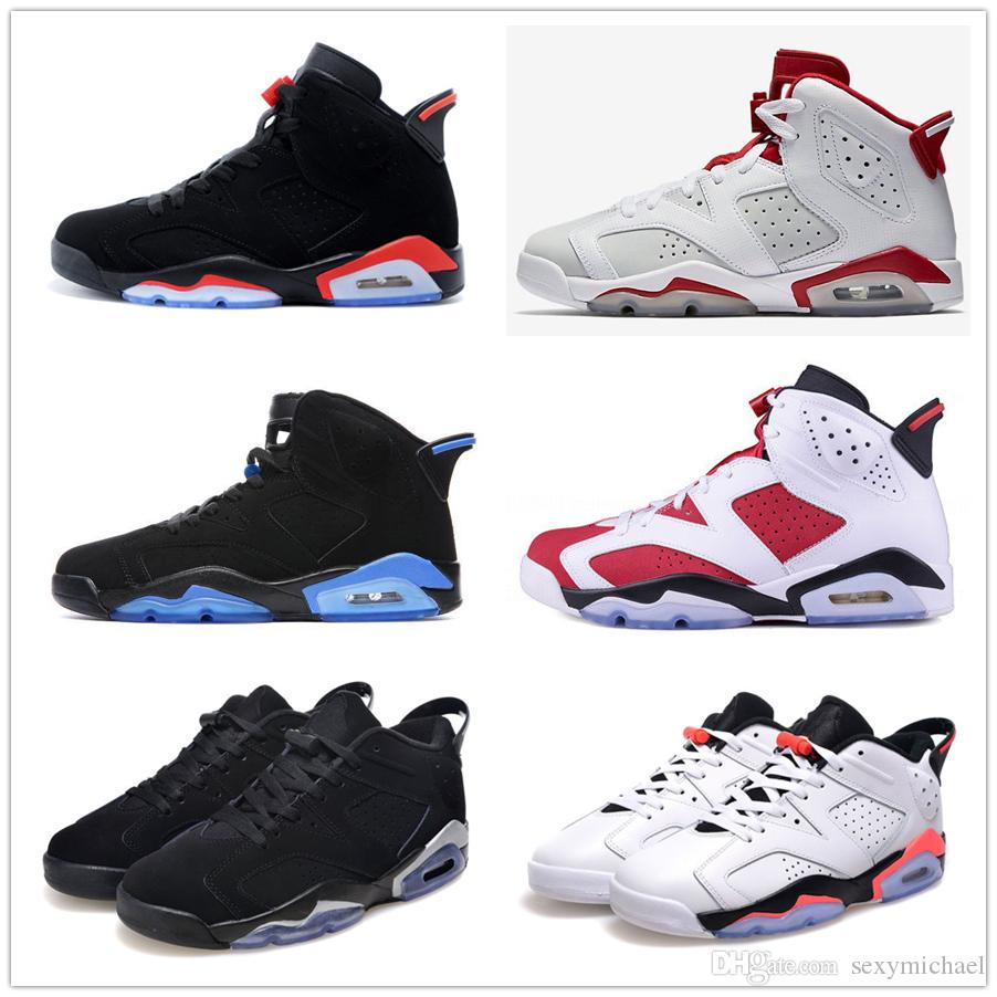 e8247a46b97 6 Carmine Basketball Shoes Classic 6s UNC Black Blue White Infrared Low  Chrome Women Men Sport Blue Red Oreo Alternate Oreo Black Cat Jordans Shoes  Sport ...