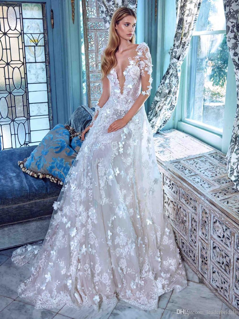 Discount 2018 Lace Wedding Dresses White Ivory A Line 3/4 Sleeves ...