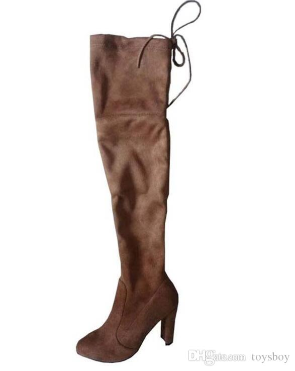 a713b676599 Faux Suede Slim Boots Sexy Over The Knee High Women Snow Boots Women S  Fashion Winter Thigh High Boots Shoes Woman Cowgirl Boots Wide Calf Boots  From ...