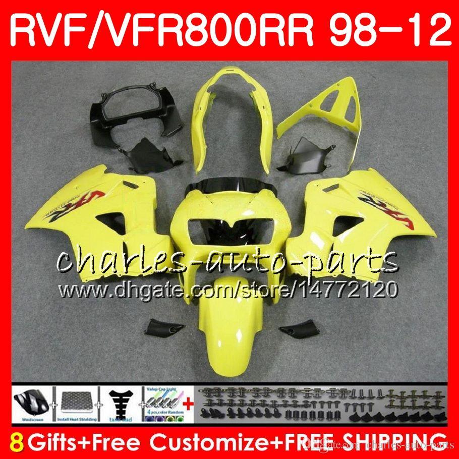 VFR800 para HONDA Interceptor brillo amarillo VFR800RR 98 99 00 01 02 03 04 12 90NO35 VFR 800 RR 1998 1999 2000 2001 2002 2003 2004 2012 Carenado