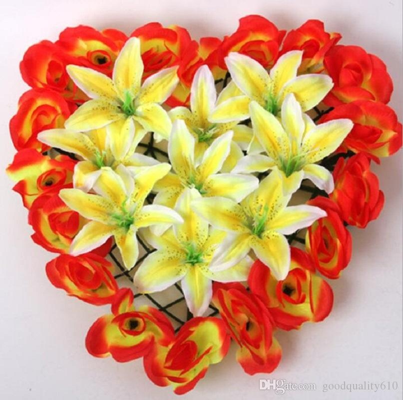 Artificial Silk Rose& Lily Heart Arch Frame In a row Decorative Wedding Road Led Flower Wedding Props