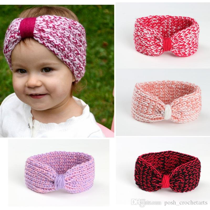 Crochet Baby Headbands Gathered Bow Crocheted Headband For Winter Infants  Headwraps Turban Style Look Head Accessories For Toddlers Beautiful Hair ... 1bf922025e0