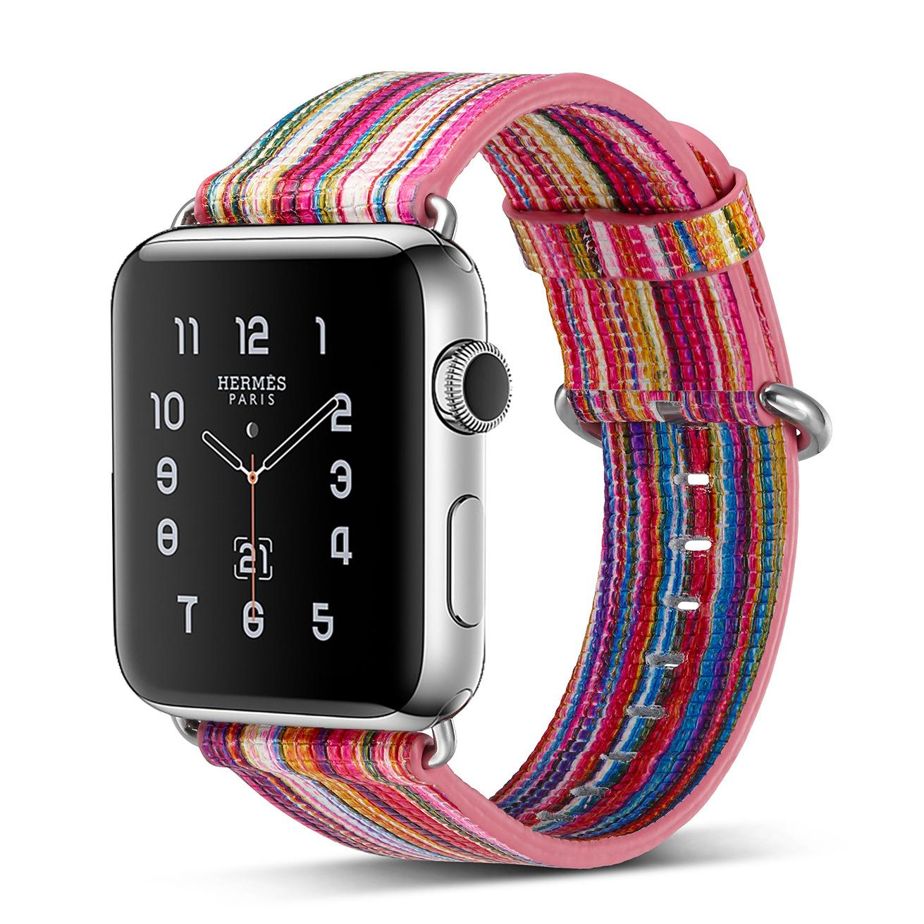 New Colorful Multicolor Band for Apple Watch band 42mm 38mm Bracelet belt  Leather for Iwatch strap Genuine leather Wristbands 8b7726f42c0