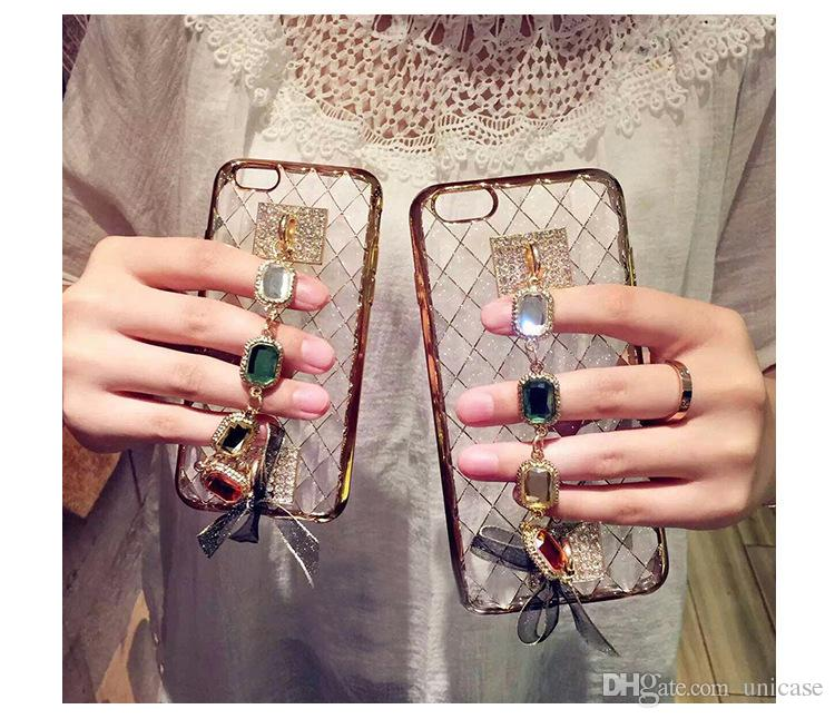 Luxury Bling Bling Diamond Phone Case Crystal TPU Cover For Iphone 7/7plus 6/6s Plus 5/5s Back Cover Skin