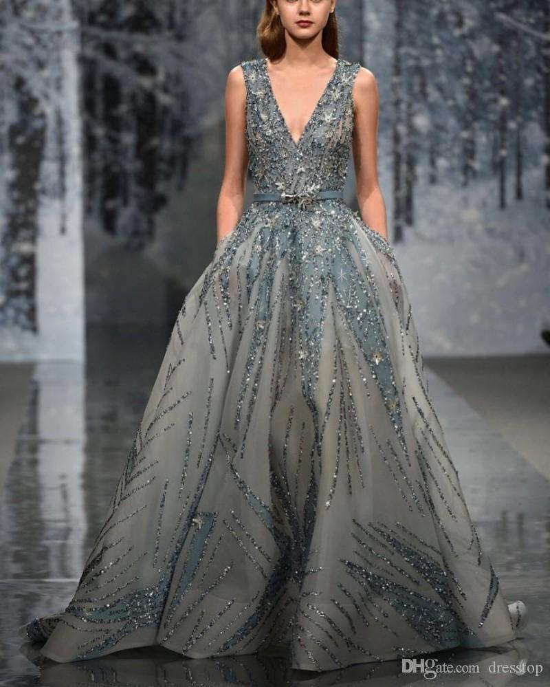 Zuhair Murad Kleid Abendgarderobe Kristall V-Ausschnitt Lange Formale Kleider Perlen Eine Linie Sweep Zug Luxus Runway Fashion Kleid Neue Ankunft